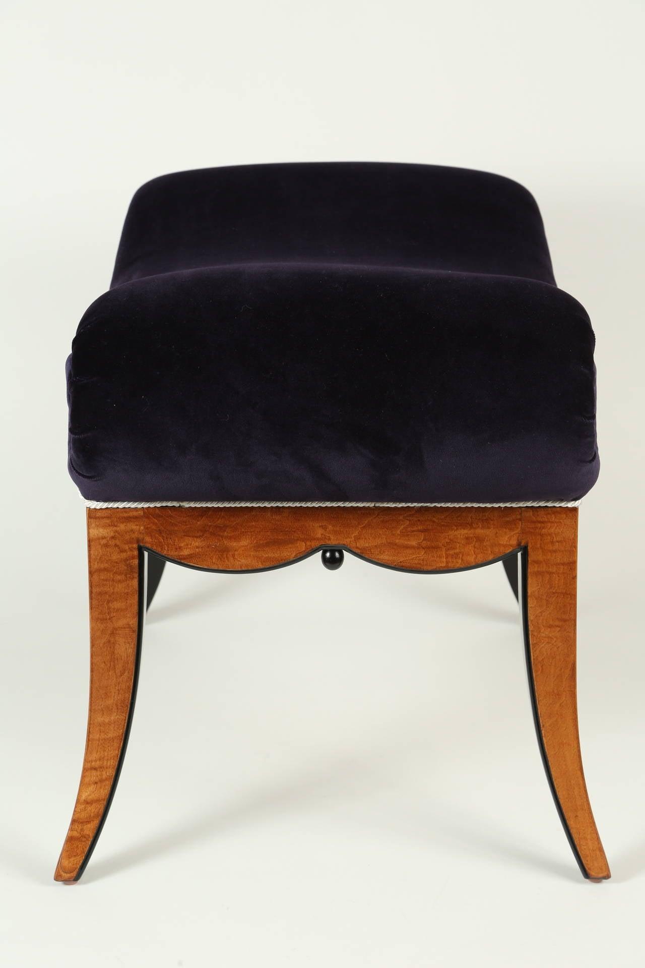 Velvet Upholstered Biedermeier Bench For Sale At 1stdibs
