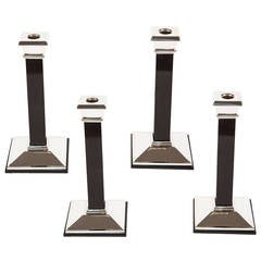 Set of Four Sterling Silver and Onyx Candlesticks by Tiffany & Co.