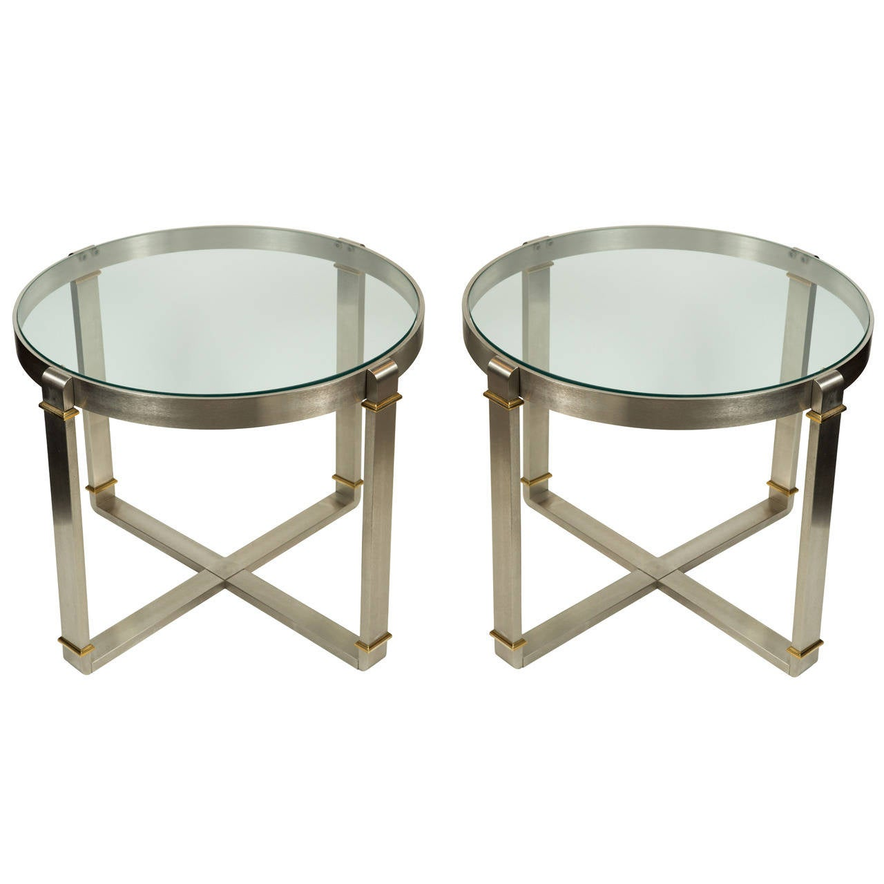 Pair Of Brushed Stainless Steel And Brass Side Tables At