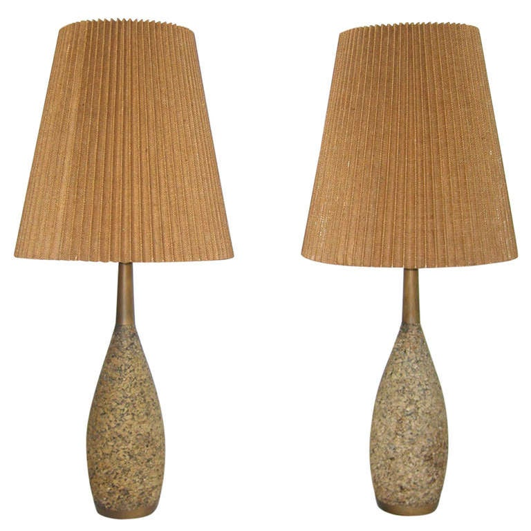 Pair of mid century cork lamps for sale at 1stdibs pair of mid century cork lamps for sale aloadofball Images