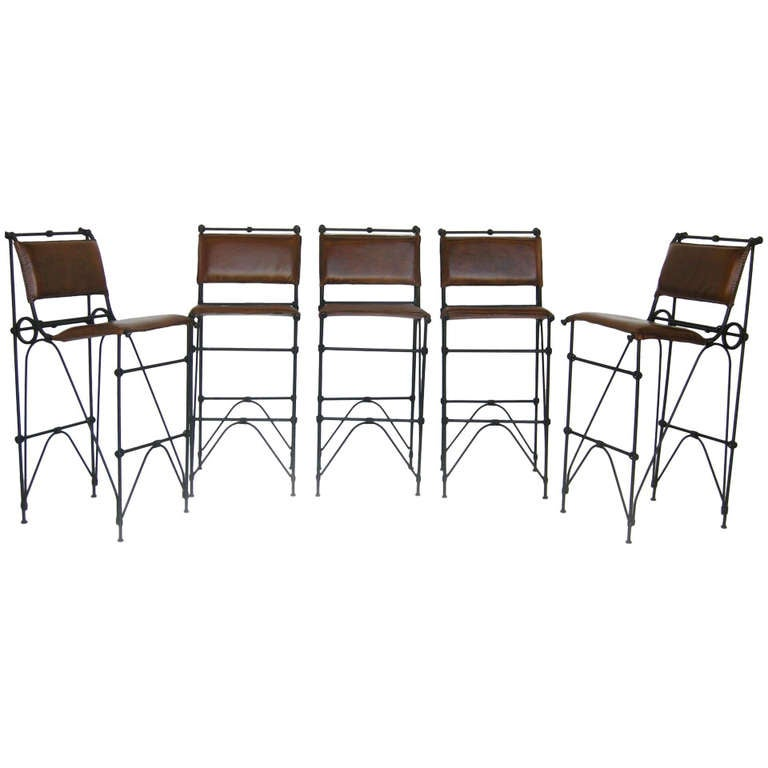 Set of Five Illana Goor Iron Bar Stools