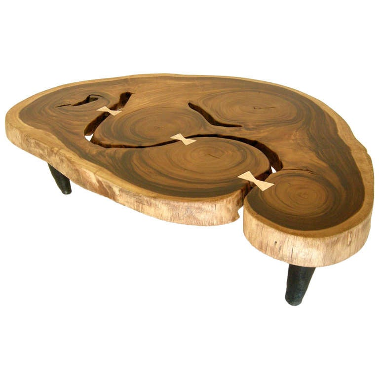 Free Form Bronze And Tropical Hardwood Coffee Table At 1stdibs