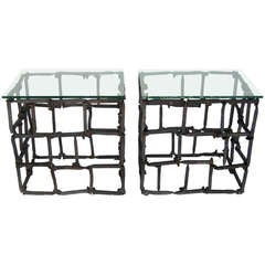 Dos Gallos Custom Rail Road Spike Side Tables with Glass Tops
