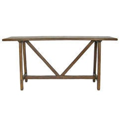 Custom Walnut / Oak Wood Console with Straight Legs by Dos Gallos Studio