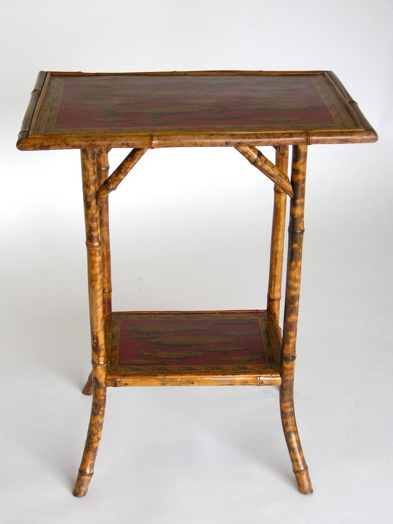 Red bamboo side table at 1stdibs for Red side table