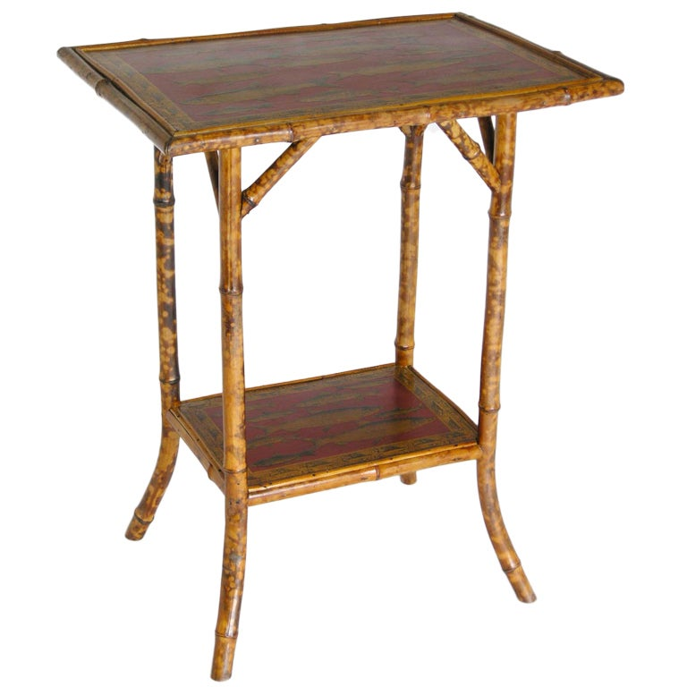 Red Bamboo Side Table For Sale At 1stdibs
