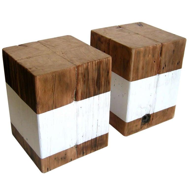 Wood Cube Stools Tables At 1stdibs