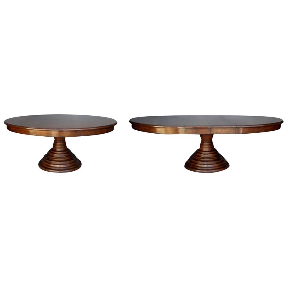 Custom Pedestal Table with Extension Leaves