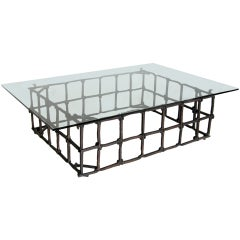 Custom Rail Road Spike Coffee Table with Glass Top by Dos Gallos Studio