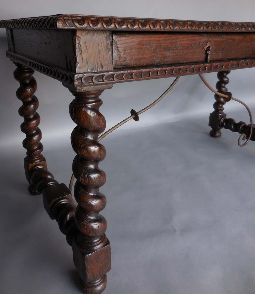 Custom Wood Writing Desk With Spiral Legs Two Drawers And