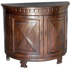 Dos Gallos Custom Oak Wood Demilune Cabinet