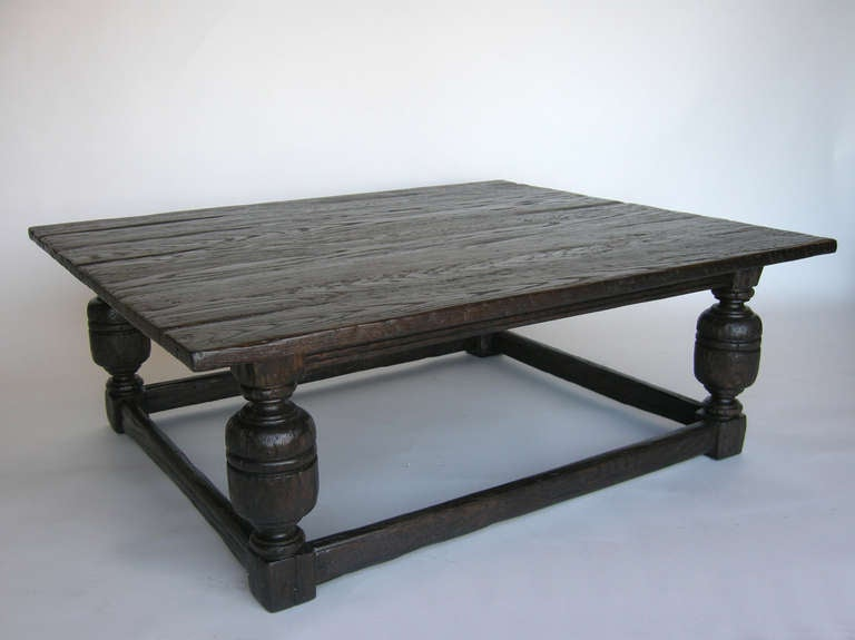 Custom Oak Wood Baroque Style Coffee Table For Sale At 1stdibs