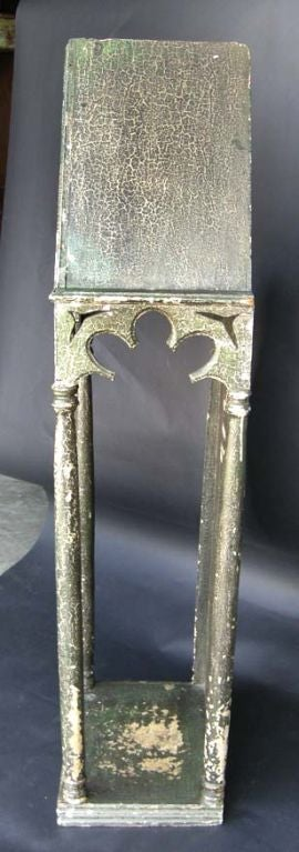 Guatemalan 19th Century Antique Gothic Style Painted Saint Display Case For Sale