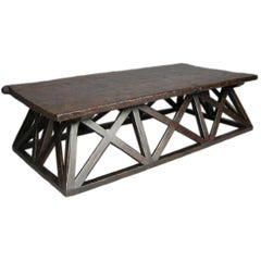 X Coffee Table with One Wide Board Top