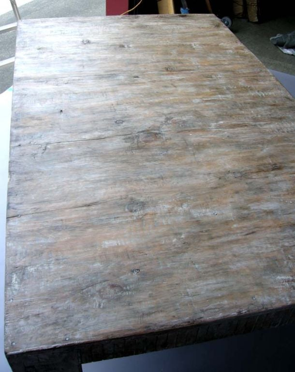 Guatemalan White Washed Coffee Table For Sale