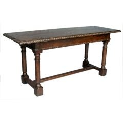 Custom Oak Wood Refectory Console with Carved Edge and Apron by Dos Gallos