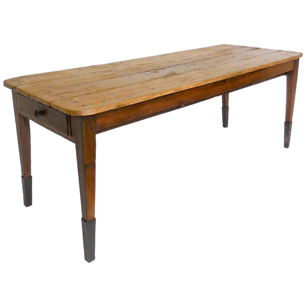 19th Century Farm Table With Tapered Iron Leg At 1stdibs