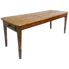 19th Century Farm Table with Tapered Iron Leg