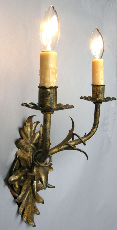 Wall Sconces En Espanol : Antique Spanish wall sconces at 1stdibs