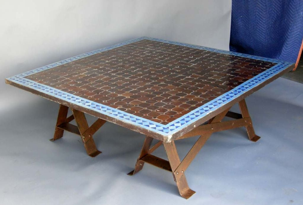 Moroccan tile top coffee table at 1stdibs for Tile top coffee table