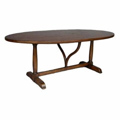 Custom Walnut Wood Oval Table with Wishbone Stretcher by Dos Gallos Studio