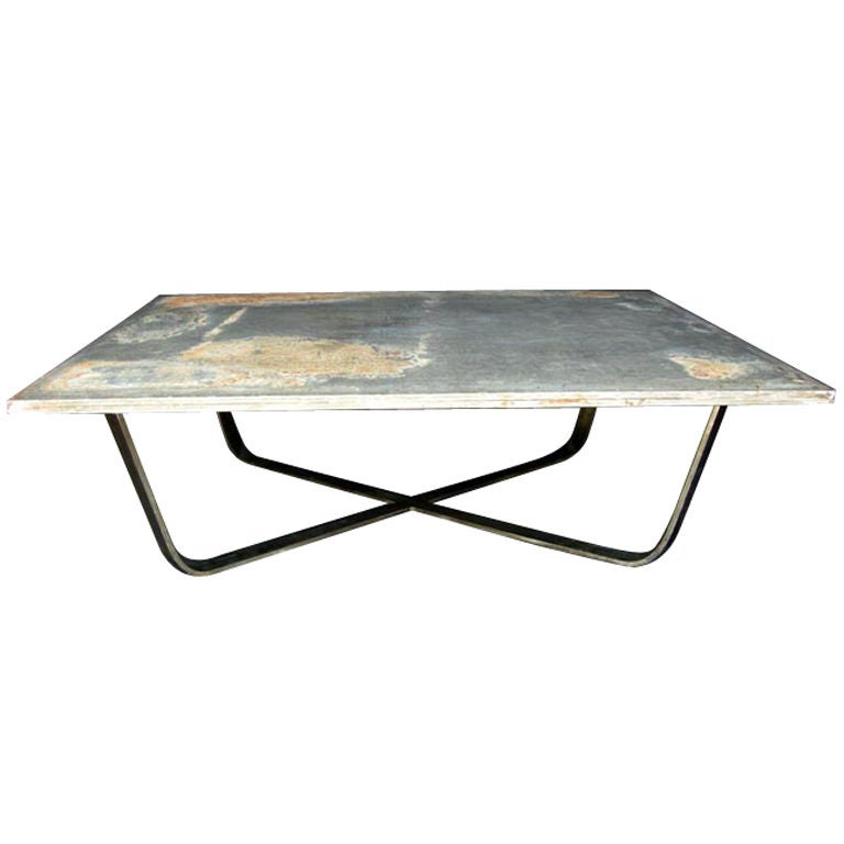 Industrial Zinc Top Coffee Table At 1stdibs