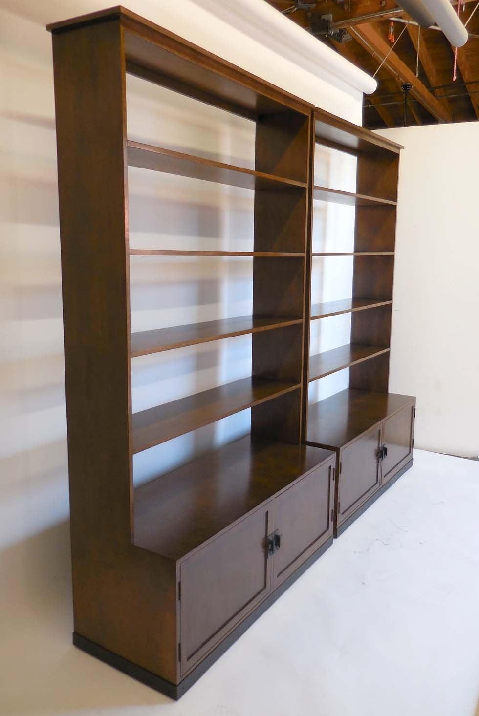 dos gallos custom walnut wood bookshelf with iron base for sale at 1stdibs