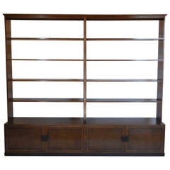 Dos Gallos Custom Walnut Wood Bookshelf with Iron Base