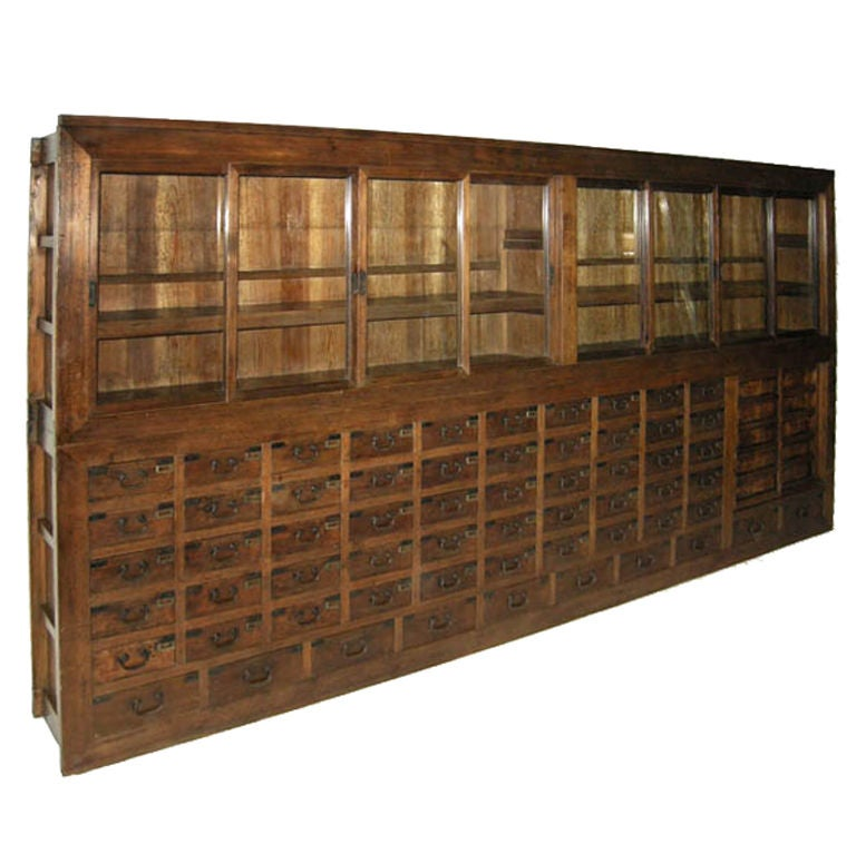 Very Large 19th Century Japanese Apothecary Display Cabinet With Glass Doors At 1stdibs
