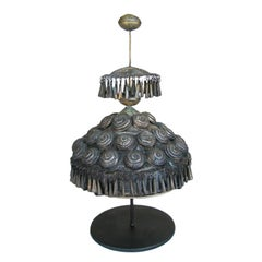 19th Century Tin Wedding Head Dress on Custom Stand