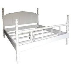 Dos Gallos Custom Painted Wood King-Size Bobbin Bed with Spindle Footboard