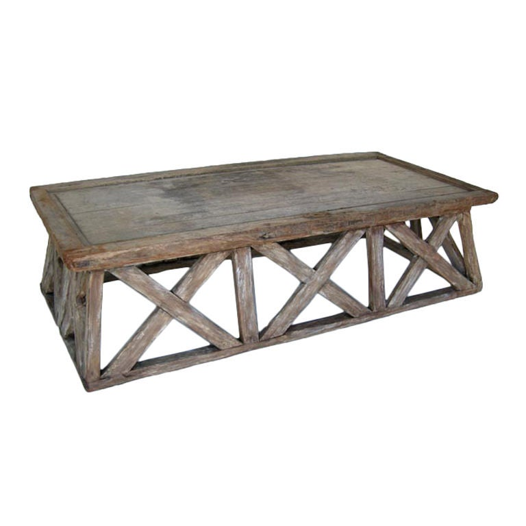 weathered x coffee table at 1stdibs