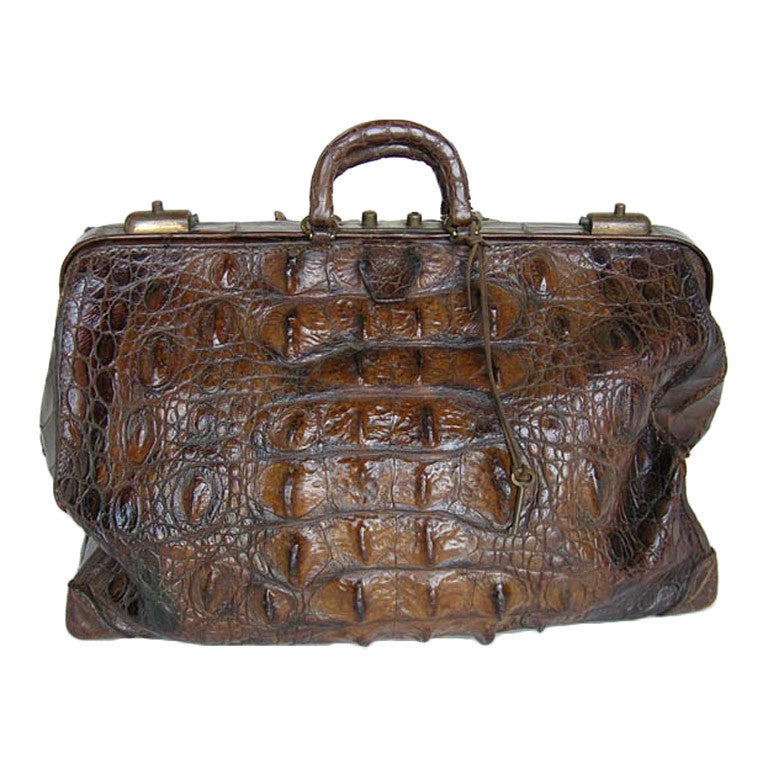 Antique Cuban Crocodile Doctor's Bag For Sale at 1stdibs
