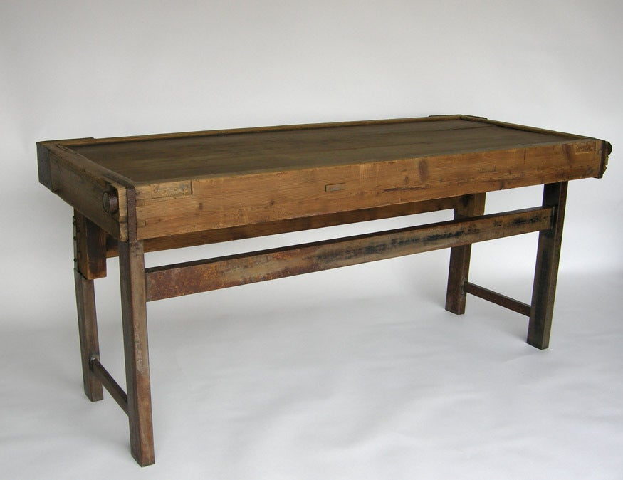 Rustic Anese Tea Table Console With Iron For