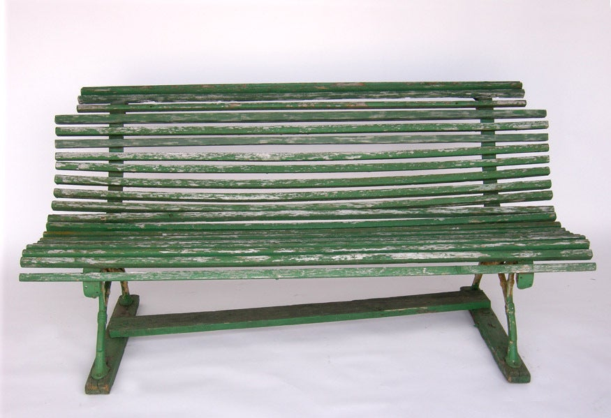 19th Century Swedish Green Slatted Garden Bench 2