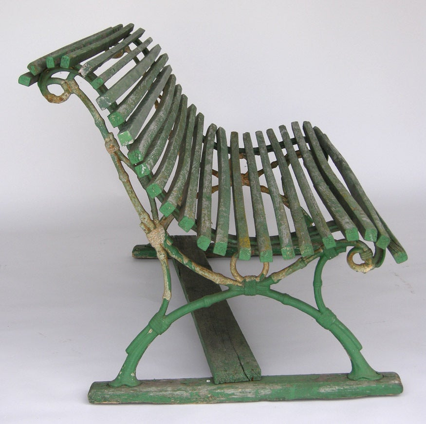 19th Century Swedish Green Slatted Garden Bench 3