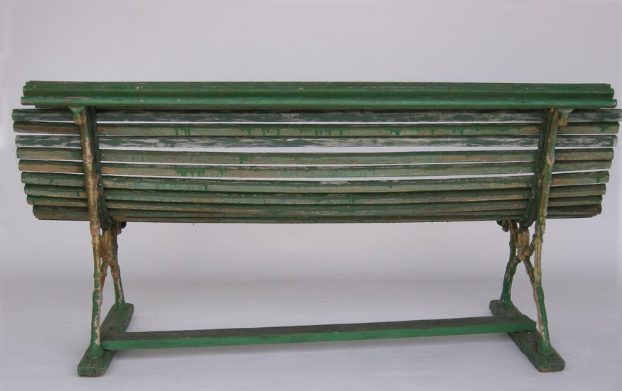 19th Century Swedish Green Slatted Garden Bench 4