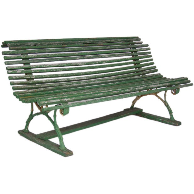 19th Century Swedish Green Slatted Garden Bench 1