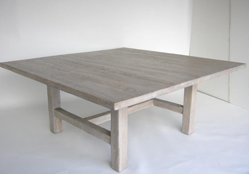 Furniture Legs Los Angeles custom large square oak table with white ceruse finish for sale at