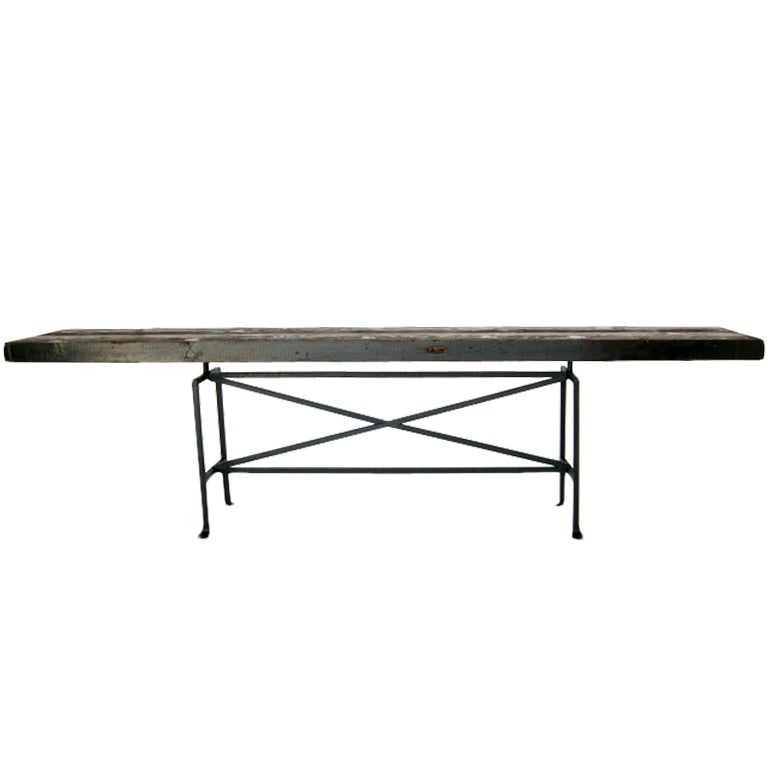 Dos Gallos Custom Reclaimed Wood Console with Hand-Forged Iron Base