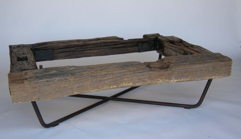 Rustic Wood/Iron/Glass Coffee Table at 1stdibs