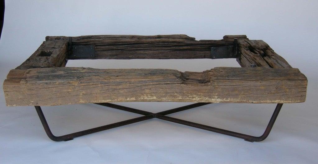 Rustic Wood Iron Glass Coffee Table At 1stdibs
