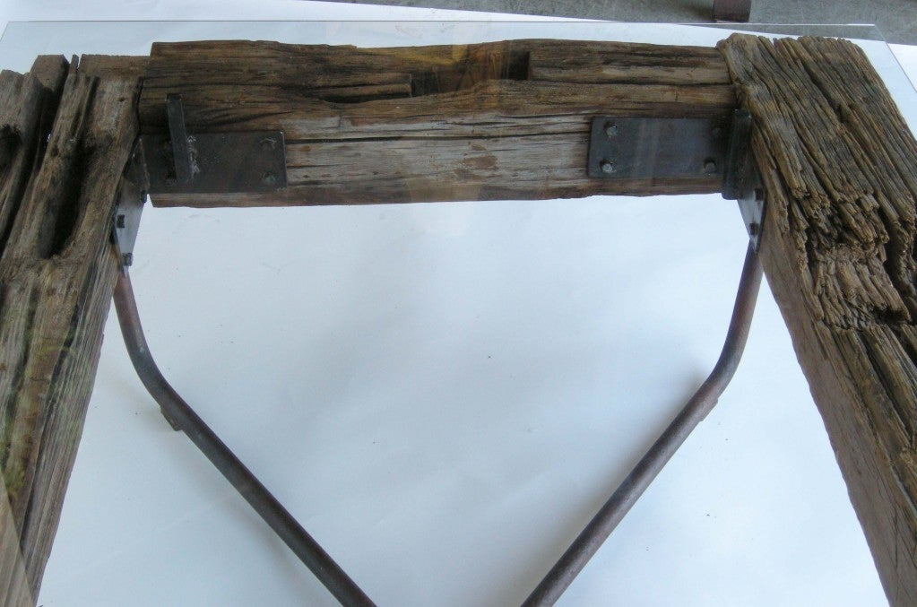 Rustic Wood/Iron/Glass Coffee Table at 1stdibs