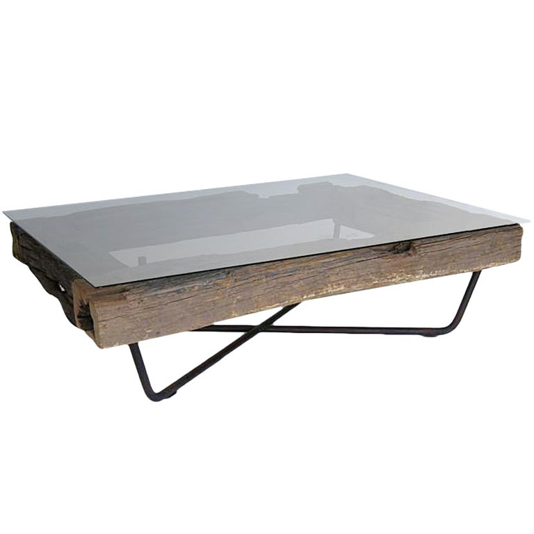 Rustic wood iron glass coffee table at 1stdibs Rustic wood and metal coffee table