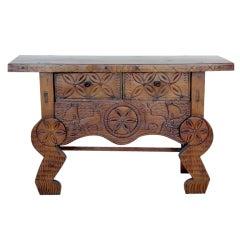 Carved Wood Primitive Table