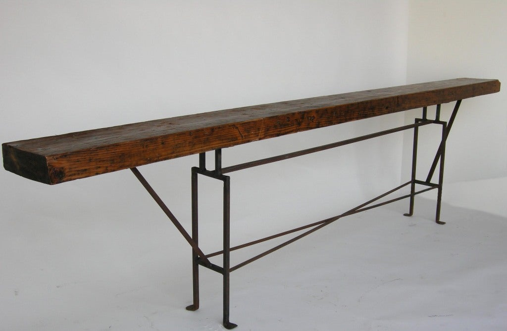 Long Skinny Reclaimed Wood Console Table With Iron Base 2 - Long Skinny Reclaimed Wood Console Table With Iron Base For Sale