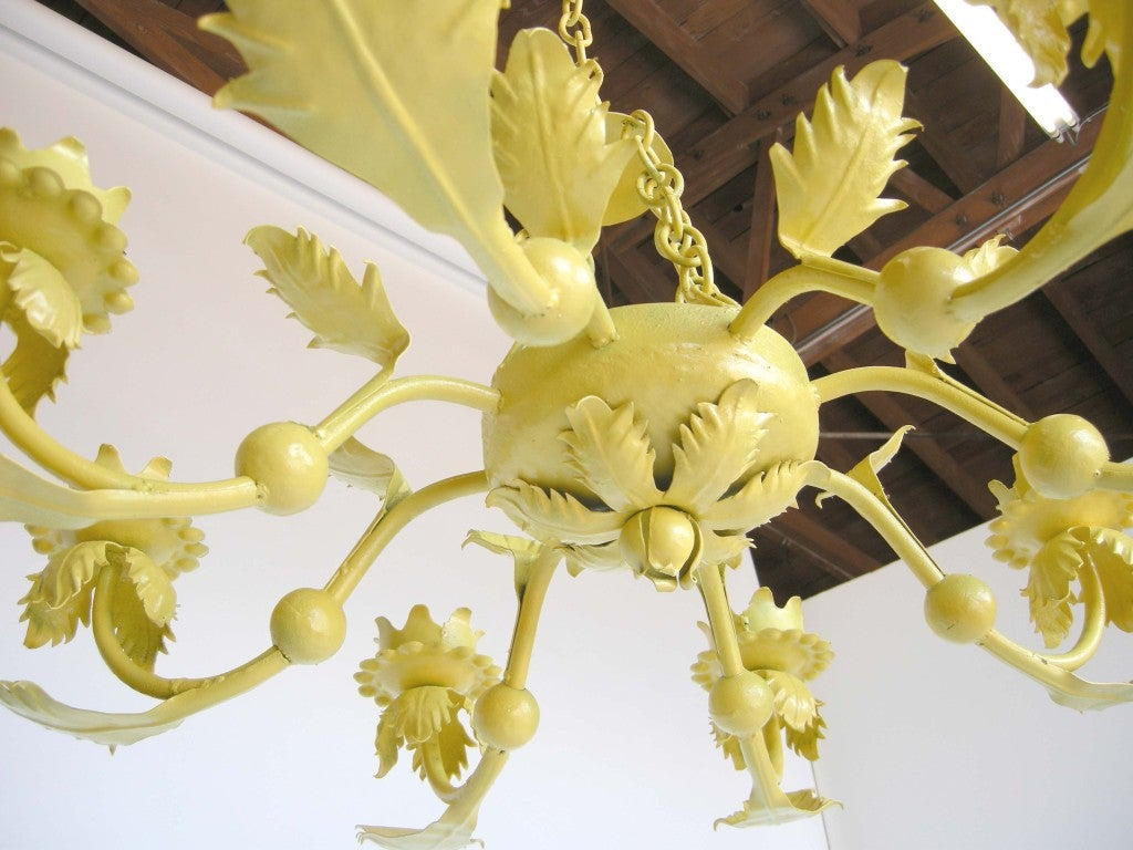 Painted yellow hand wrought iron leaf chandelier for sale at 1stdibs folk art painted yellow hand wrought iron leaf chandelier for sale aloadofball Gallery