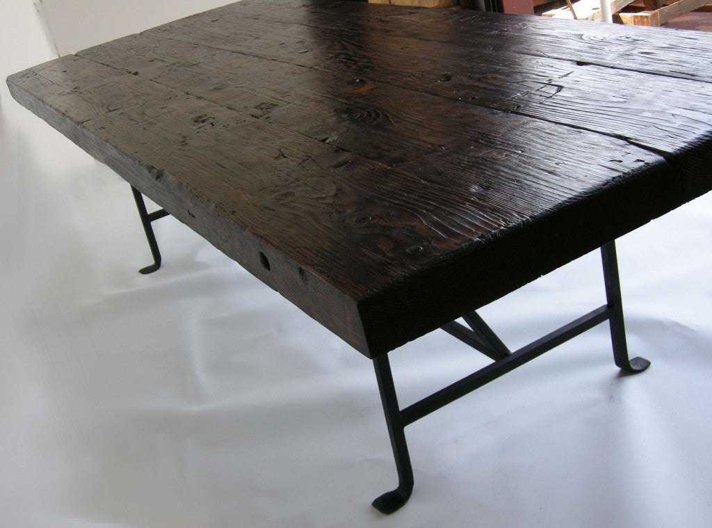 Dos gallos custom reclaimed wood dining table with hand for Forged iron table base