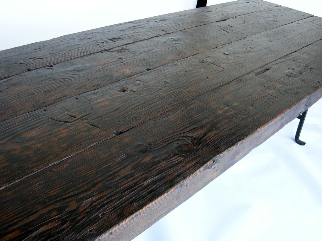Dos Gallos Custom Reclaimed Wood Dining Table with Hand-Forged Iron Base In Good Condition For Sale In Los Angeles, CA