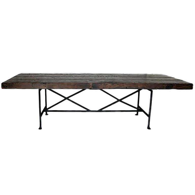 Dos Gallos Custom Reclaimed Wood Dining Table with Hand-Forged Iron Base For Sale